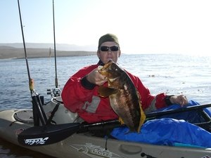Nathan Clookie with a big calico bass