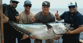 179 pound bluefin tuna caught aboard the Fortune on July 27th during an overnight trip