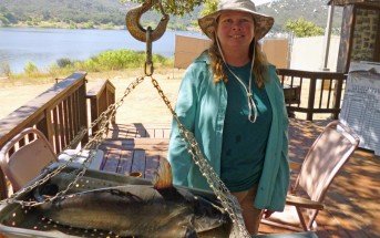Celine Neumann and her 6 pound catfish that took top honors in the Lake Wohlford Catfish Derby in 2016