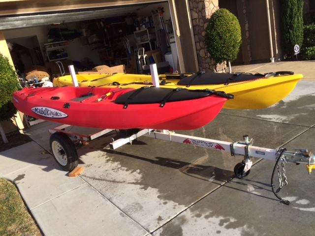 For sale 2 fully rigged fishing kayaks and trailer for for Fishing kayak trailer