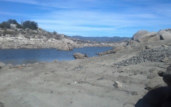 The low water level at Lake Morena shown in this photo from February of 2014.