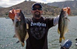 Two bass from Chip Gilbert's tournament win at Hodges on Saturday