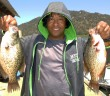 Miles Palmore with 2 of his 21 crappie caught at Wohlford on May 31st, 2015