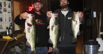 Morgan Holbrook and Aaron Morrison show off their winning limit of largemouth bass in the San Diego Team Night Series Tournament