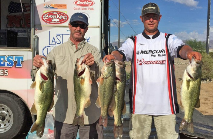 Keith Gunsauls and Tom Leedom with their second day, 21.81 pound limit at the 2015 Lake Havasu Classic