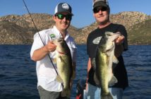 Two bass from the same school caught at San Vicente on opening day; 1 fat 3.5 pounder and 1 skinny 5 pounder.