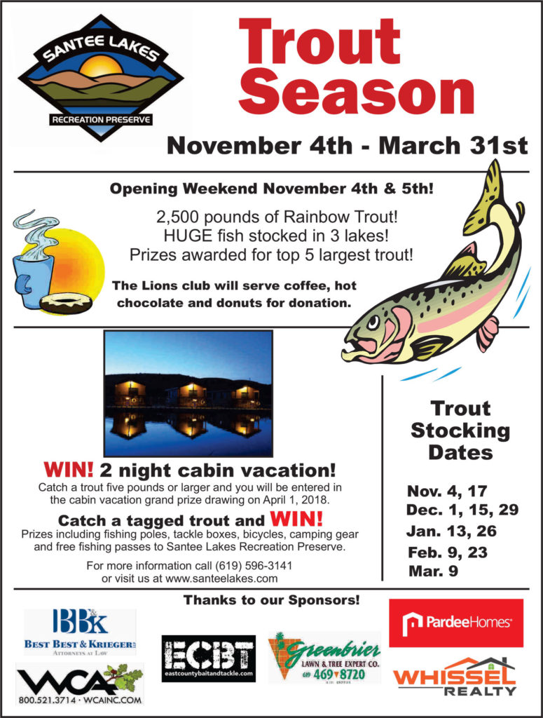 Santee Lakes 2017/2018 Trout Season Flyer