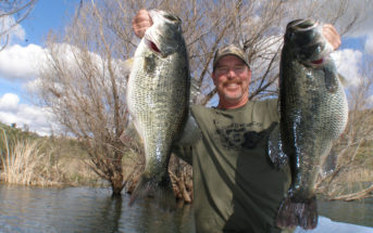 Mike Long with a pair of large bass from Lake Jennings in San Diego County, CA